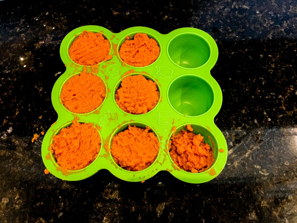 pureed carrots in a silicone freezer tray