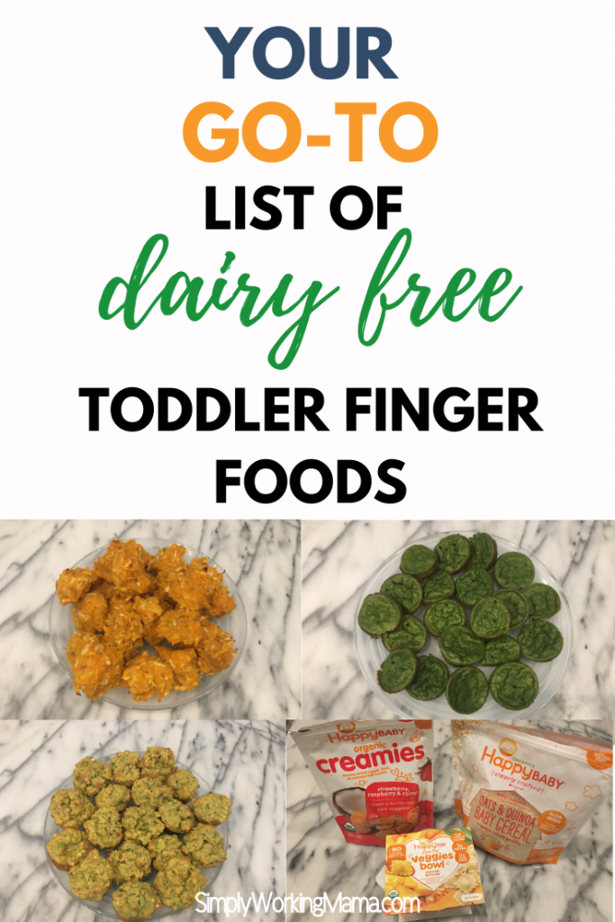 Multiple dairy free toddler finger foods on a marble countertop.
