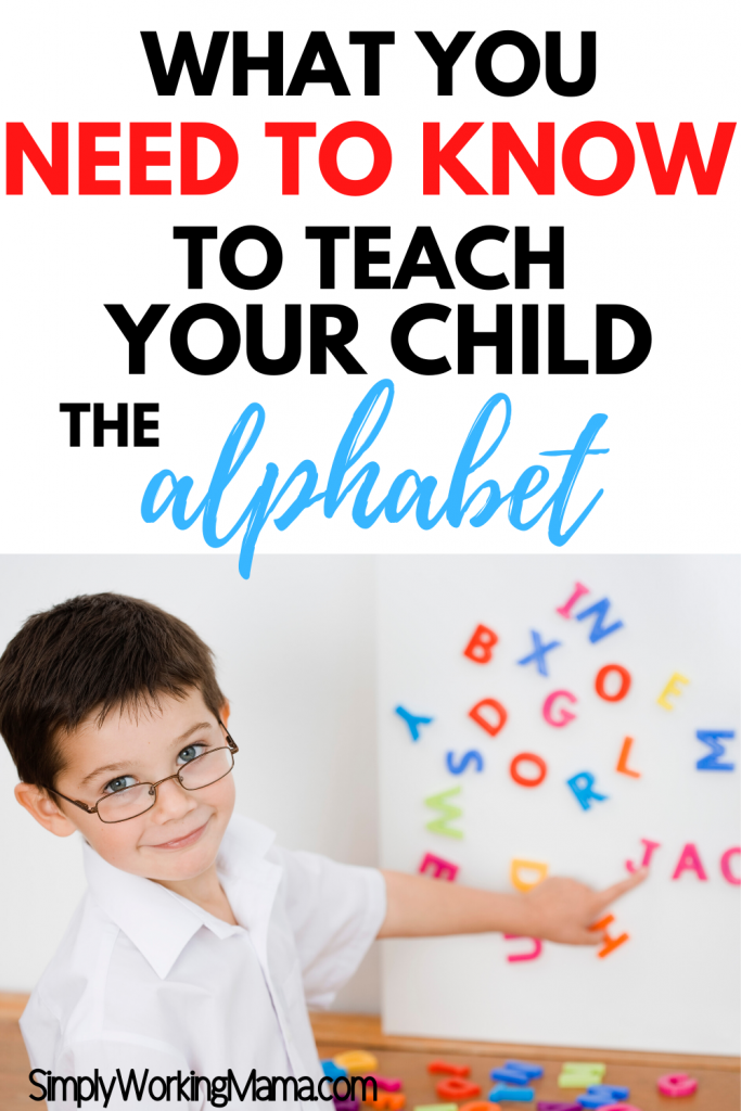 Toddler boy wearing glasses pointing to magnetic letters on a board; teaching your child the alphabet.