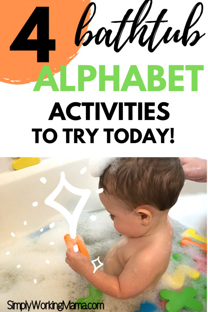 Toddler boy in bathtub playing with alphabet letters.
