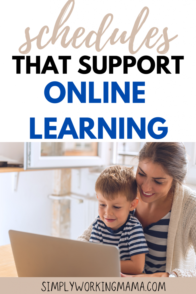 Mother and son working through an online learning schedule