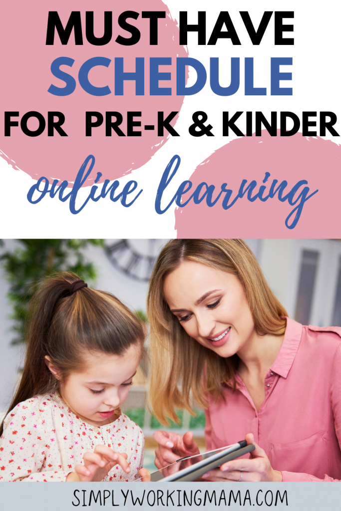 mother and child following online learning schedule