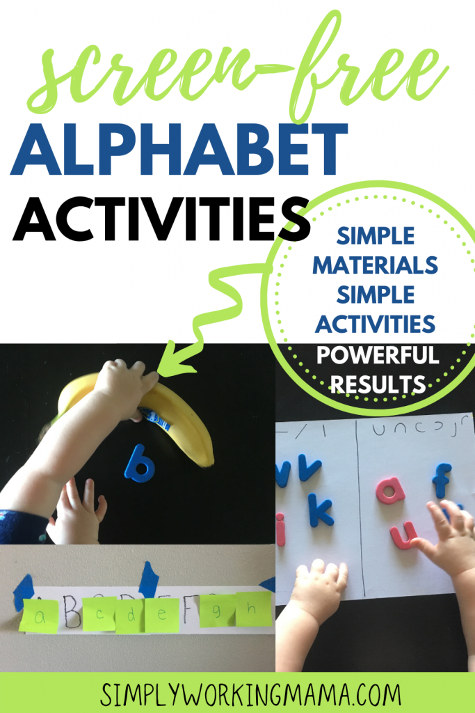 Variety of screen-free alphabet activities