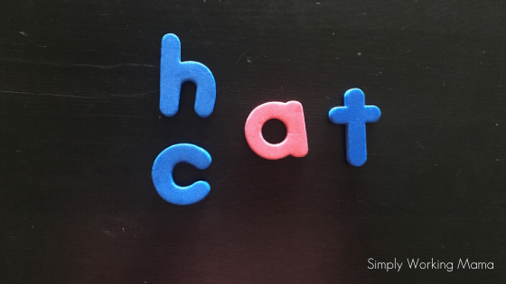 Magnetic letters on a black surface
