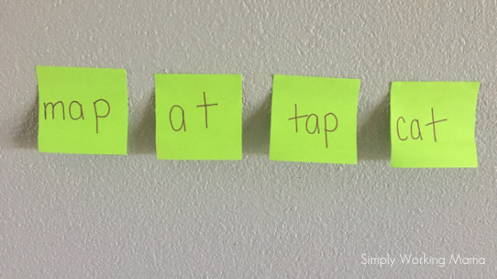 simple words written on a post-it for an alphabetic principle game