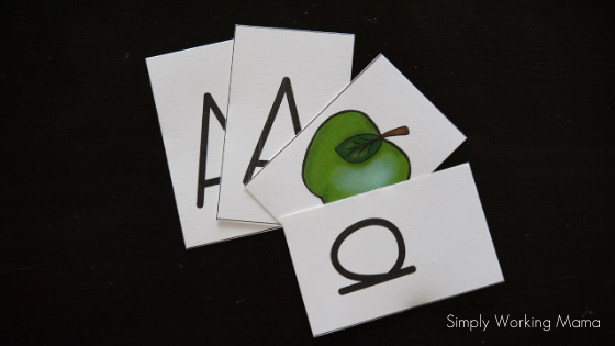 Letter cards of letter a; screen-free alphabet activities