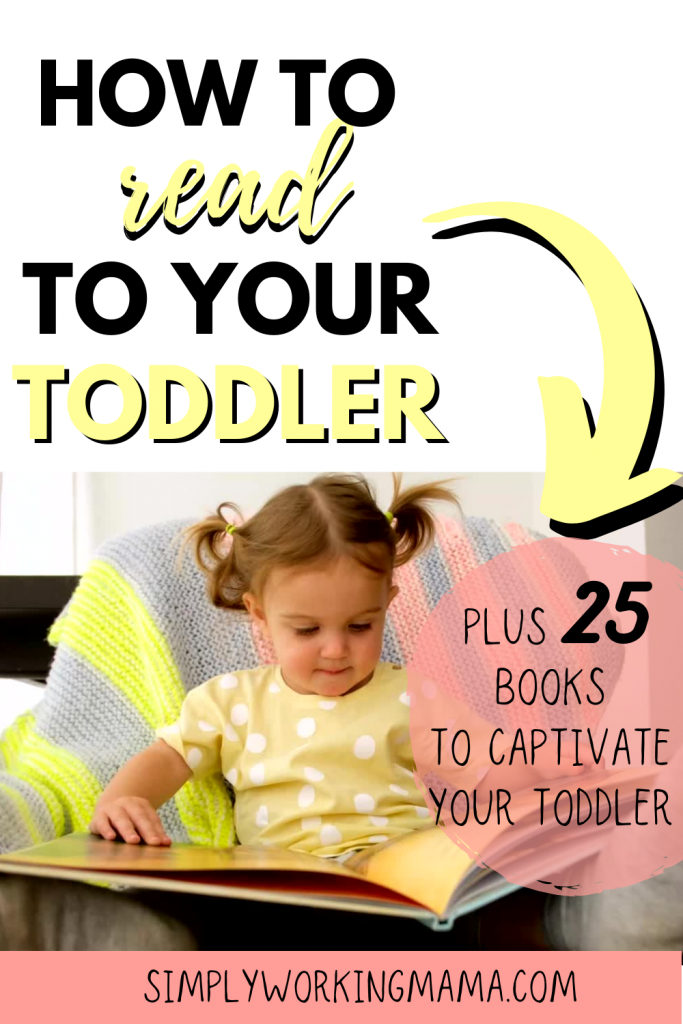 Little girl in pigtails reading a book; how to read to toddlers