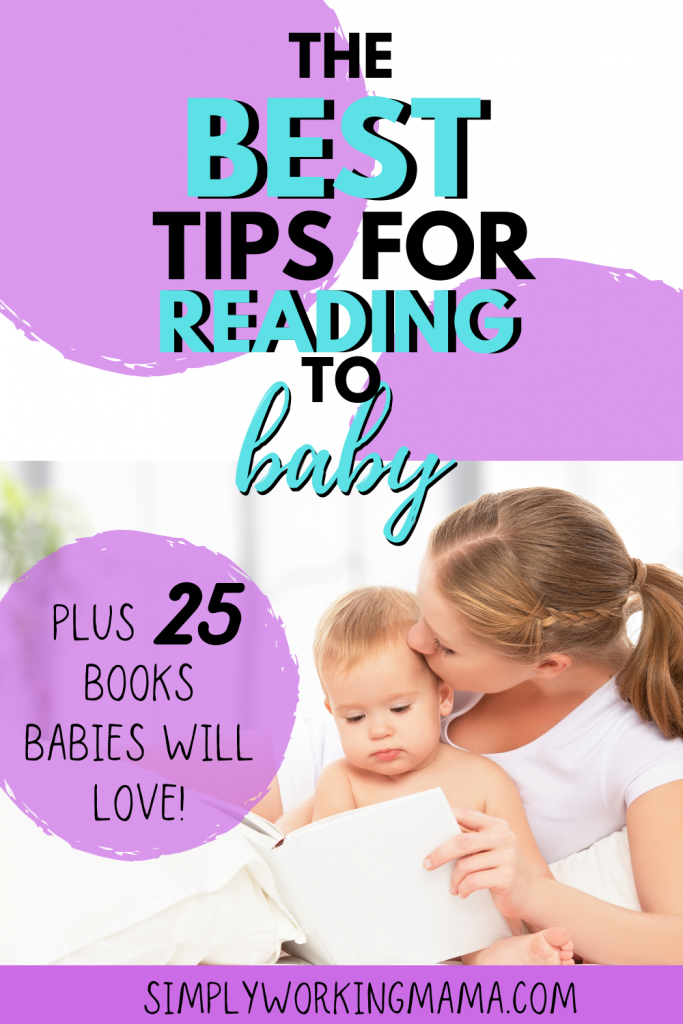 mom reading with baby and kissing baby's temple; read to your baby