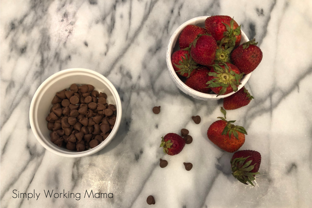 chocolate and strawberries in small cups; read and play