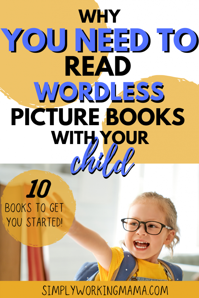 Young girl pointing at books; wordless picture books