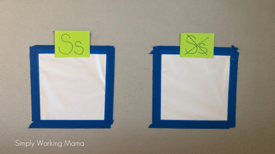 how to teach letters with letter discrimination; sticky wall with letter s