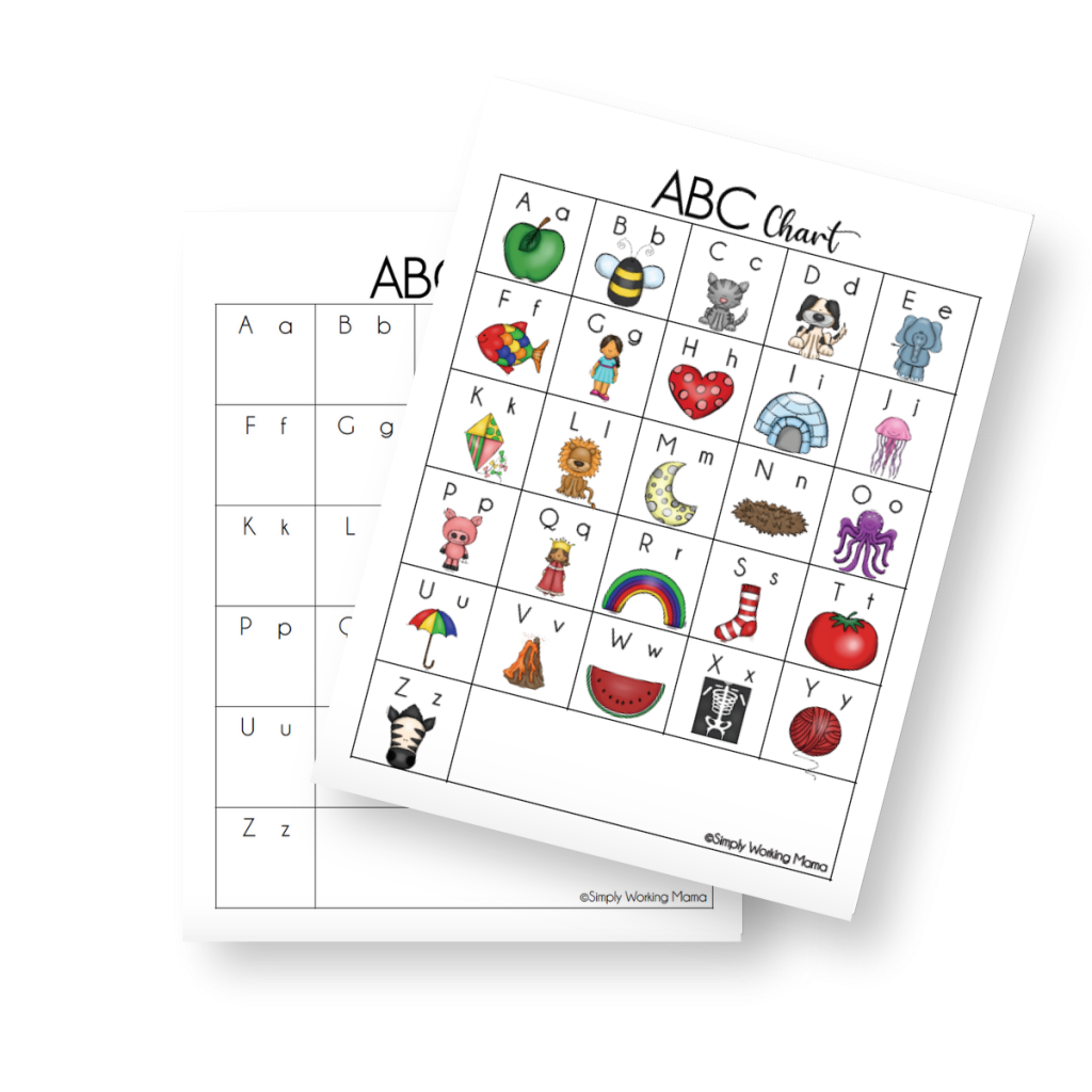 2 alphabet charts for children to learn and practice the alphabet