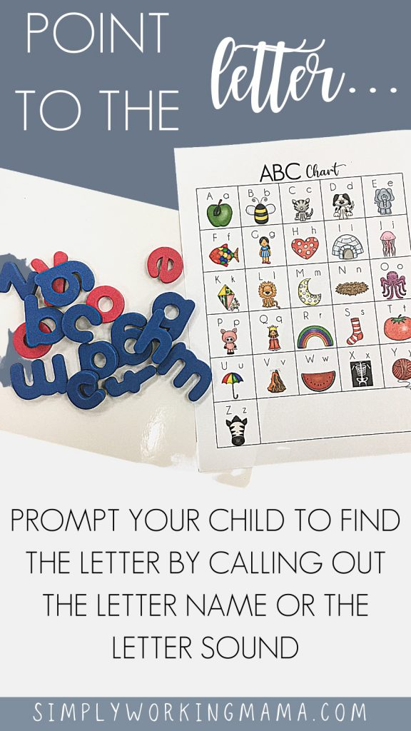 alphabet chart with magnetic letters
